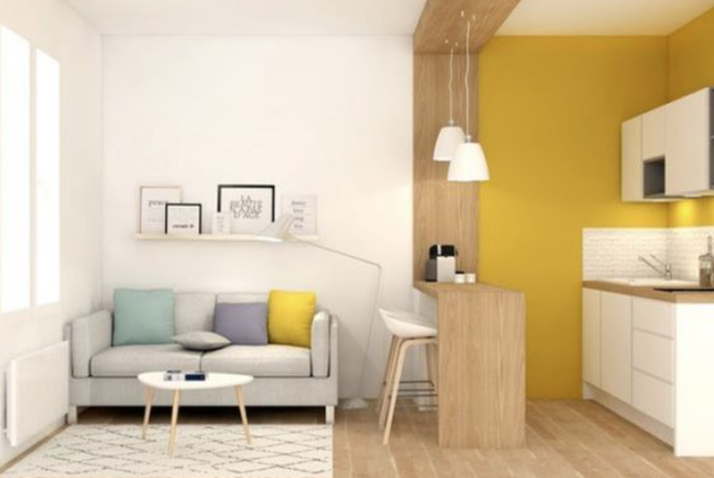 Desain ruang minimalis kuning
