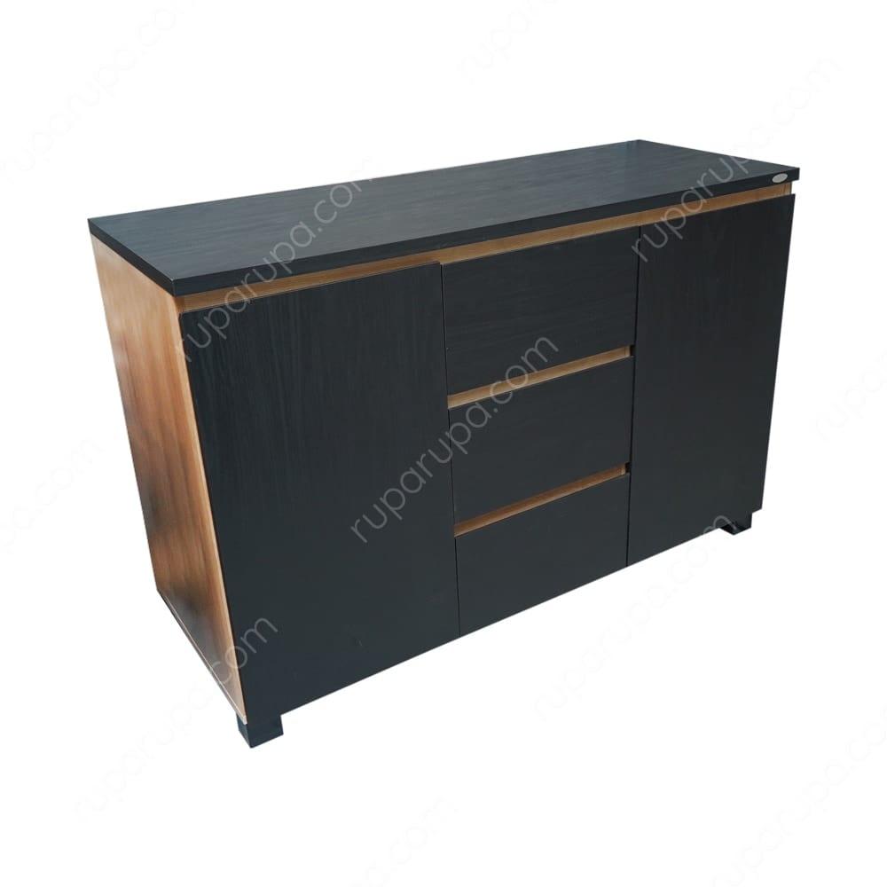 harga lemari ruang tamu minimalis terbaru moza-kabinet-penyimpanan-hitam