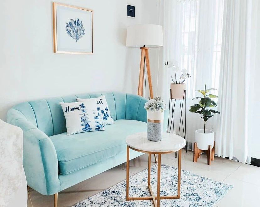 ruang tamu nuansa biru
