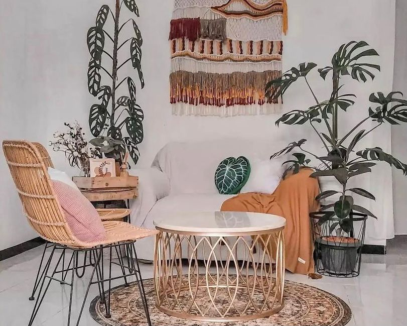 ruang tamu tema bohemian