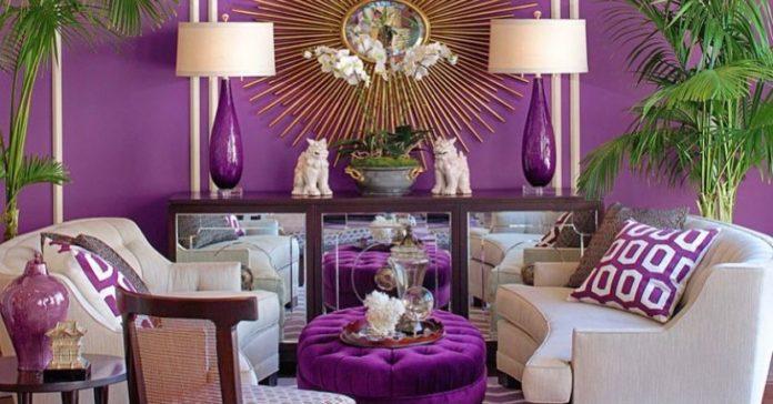 ruang tamu warna ungu