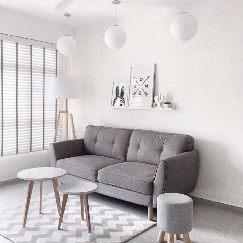 ruang tamu minimalis abu-abu yang super simple