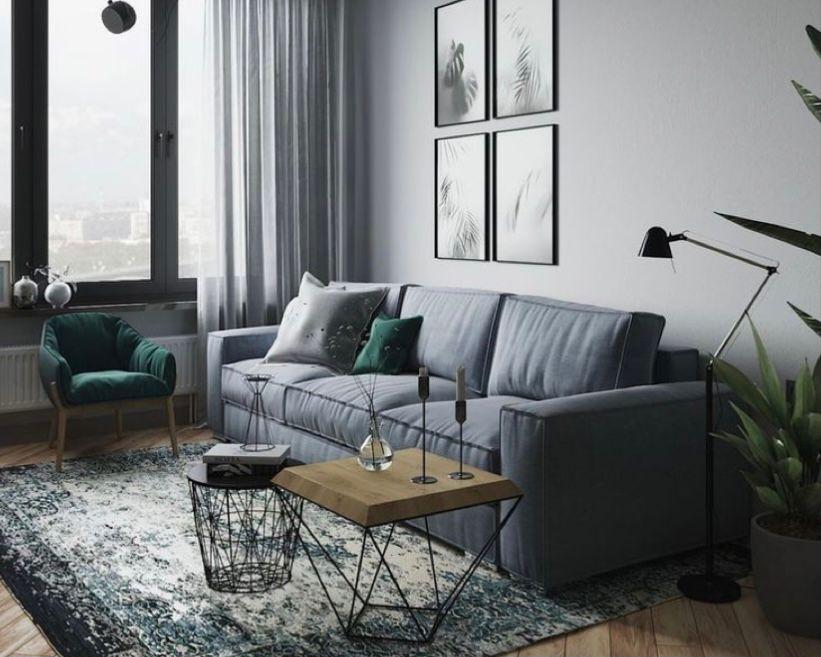 ruang tamu minimalis abu-abu dengan aksen hijau