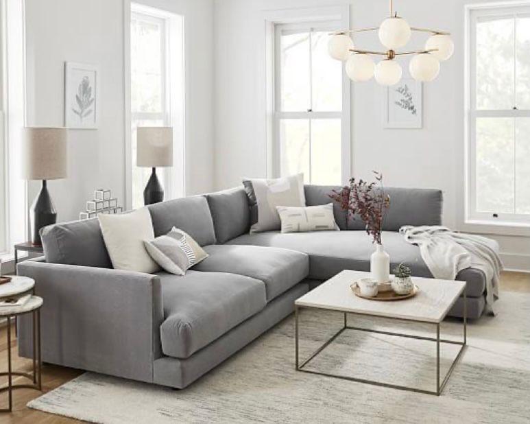 ruang tamu minimalis abu-abu modern