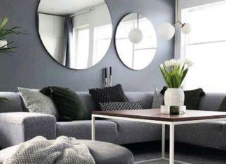 ruang tamu minimalis abu-abu